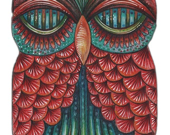 """Owlette Odo - an 8 x 10"""" ART PRINT of a funky and unique Colourful Owl Art which is Great For Kids Rooms or Bird & Whimscal Art Lovers"""