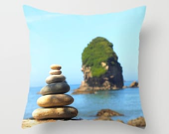 By The Sea Pillow Cover Stacked Stones Rocks Beach Cottage Decor Ocean Pillow Marine Decor Water Sea Ocean