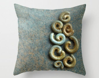 Millipede Pillow Cover Nature Print Natural History Lovely Things In Nature Swirl Brown Nature Art