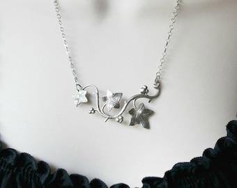Silver Ivy Vine Leaf Pendant Necklace
