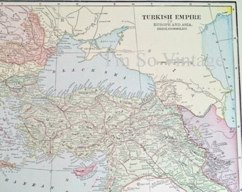antique double sided map Turkish Empire and Principal Cities of the Old World 1899
