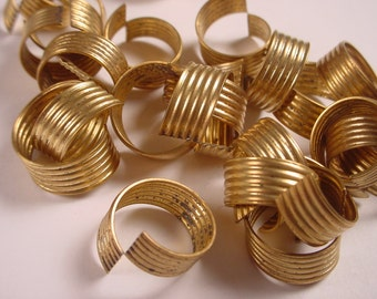 Vintage Brass Ribbed Curl Findings