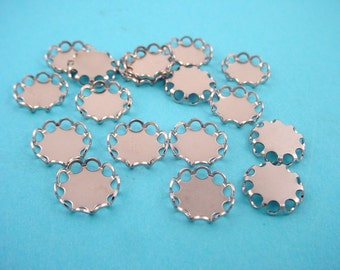 16 silver Tone Round Lace Edge Bezel Cups 9mm