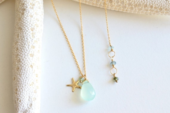 Beachy Aqua Blue Chalcedony Green Tourmaline Gold Starfish Gemstone Necklace