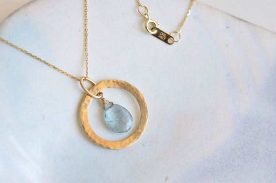 Dreamy Moss Aquamarine 14K Solid Gold Circle Loop Handcrafted Gemstone Necklace