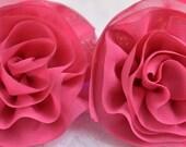 Set of 4pcs Handmade chiffon flowers--dark carnation (FB1015)