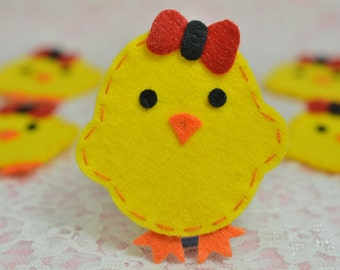 NEW! Set of 6pcs handmade felt chicken--lemonade (FT1017)