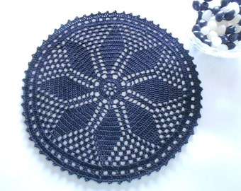 Black Doily Handmade Crochet 10 Inch Halloween Goth Decor