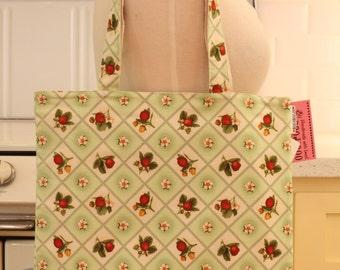 Book Bag Tote Purse - Green Strawberry