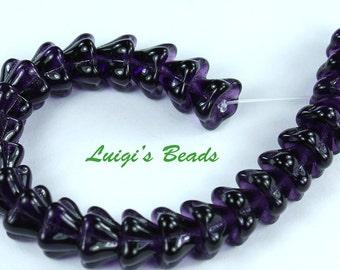 25 Tanzanite Czech Glass Beads Bell Flower 8/6mm
