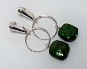 Custom order for Jennifer - Emerald green pearl earrings and bracelet set