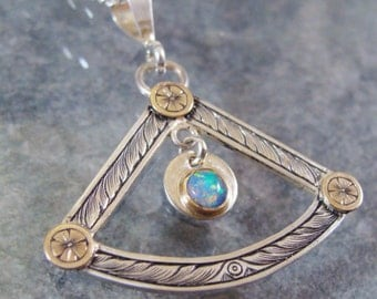 Hand Engraved Art Nouveau Inspired Sterling And Gold Australian Opal Necklace