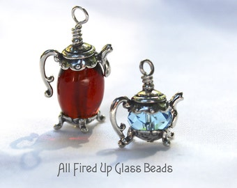 Small Teapot Bead Cap Charm Sterling Silver Detailed Made in USA