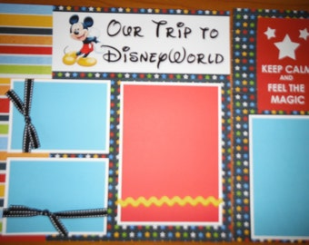 Our Trip to  DISNEY WORLD LAND Memories Premade Scrapbook Pages for Mickey Mouse