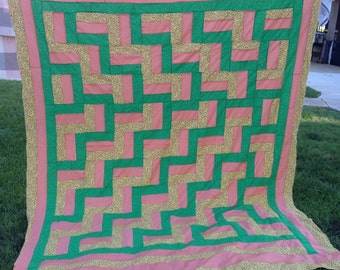 Vintage Green and Yellow Set in Coral Staircase Pattern Quilt Top