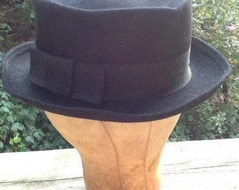 Vintage Men's Black Wool Felt Hat With Wide Band