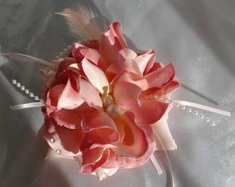Bridal Hair Wedding Hair Pink Rose Hair Comb Headpiece Fascinator