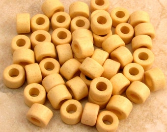 Greek Ceramic Tube Beads, Lemon Creme Yellow, 6x4 mm, 50 Pieces M198