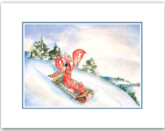 Mermaid Christmas cards. nautical Christmas cards. set of 10.