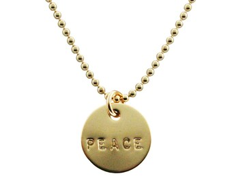 Personalized Gold Necklace- hand stamped name pendant. Custom Jewelry. Peace Necklace. Personalized Necklace by jenny present.
