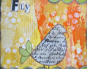 fly - 6 x 6 ORIGINAL COLLAGE by Nancy Lefko