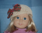 """Crocheted hat with attached flower for American Girl or 18"""" doll."""
