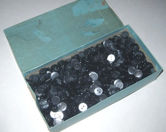 Huge Lot of Vintage Small Pearlized Grey or Gray Buttons in Original Box