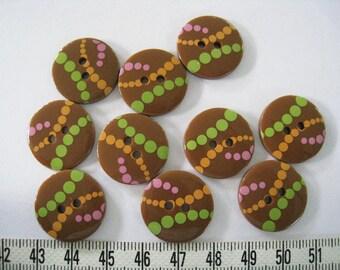26 pcs of  Polka Dot Button Graphic Print Button  -  21mm LAST SET