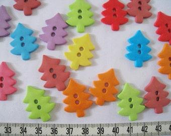 20pcs of  Large Pine Tree button - Green Yellow Blue Red Orange Brown