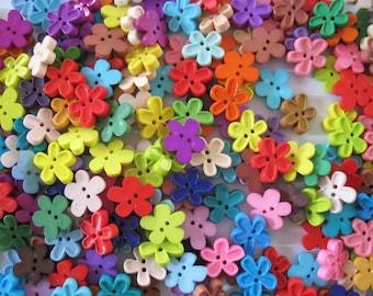 30pcs of Flower Button - 18mm - Multicolor