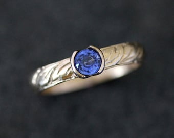 Sapphire Yellow Gold Gemstone Ring, Hand Engraved 14k Yellow Gold and Half Bezel Ceylon Sapphire, Eco Friendly recycled Gold