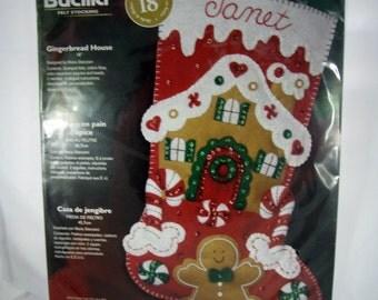 Bucilla Felt Christmas Stocking Kit - Gingerbread House - Unopened Package