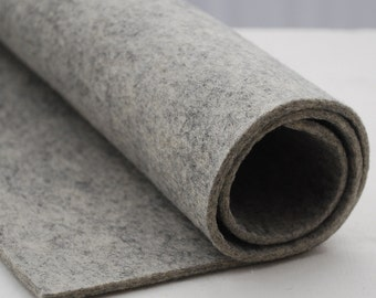"100% Wool Felt Fabric - 1 Yard x 1/2 Yard (36"" x 18"") - 3mm Thick - Made in Western Europe - Natural Light Grey"