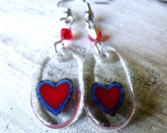 Heart - fused glass earrings