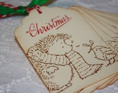 Handmade Vintage Style Christmas Gift Tags - Porcupine and Bird Friend