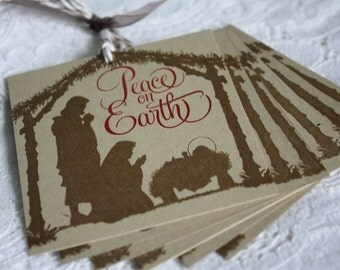 CHRISTMAS IN JULY Handmade Nativity Silhouette Scene - Peace on Earth - Christmas Gift Tag