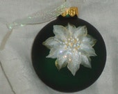 Hand Painted Poinsettia Glass Christmas Ornament with Glitter
