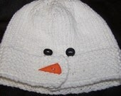 """Knitted Cotton Baby Hat -Snowman with """"coal eyes and carrot nose"""" buttons"""