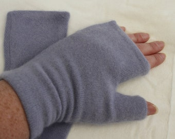 Lavender  Upcycled Cashmere Fingerless Gloves