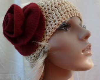 Off White Hat with Red Felted Wool Flower
