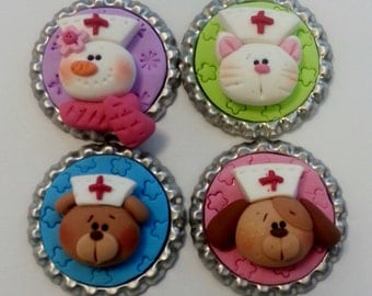 Nurse Polymer Clay Bottle Cap Bead, Scrapbooking, Bow Center, Pendant, Cupcake topper, Magnet