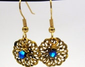 Antiqued  Gold Brass Filigree Cobalt Blue Crystal  Dangle Earrings - French Wires