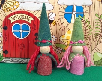 Meet The Rose Garden Gnomes Flower Little Girl Waldorf Gnomes  Pink  Rose and Red Rose Peg People