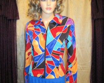 Vintage Jacket, LoriZoni fitted short Blazer Jacket, Vividly colored abstract, Sz Extra Small/Small, Zip Front, Made in USA