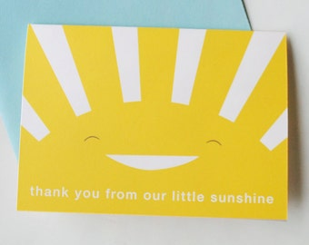 Sunshine thank you notes, kids personalized stationery, you are my sunshine, DIGITAL FILE