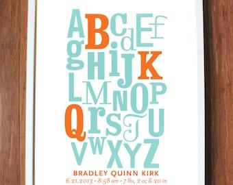 Alphabet with Initials modern nursery art print poster custom - 8x10