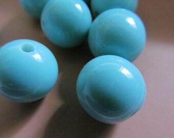 Vintage Glass Beads (4) Handmade Japanese LIght Blueish Turquoise Large Focal Beads