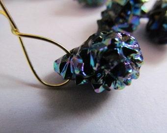 Vintage Glass Beads (2) German Black AB Drop Beads Large Perfect Earrings