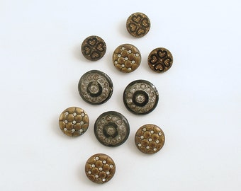 Vintage Buttons Rhinestones Quilted Metal Hearts