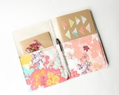 Notepad Cover in Mint and Coral Floral Fabric, Portfolio Organizer, List Taker
